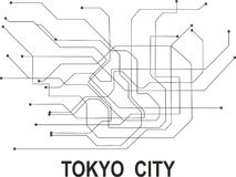 Tokyo  City map. Tokyo subway map available in vector file format Royalty Free Stock Photo