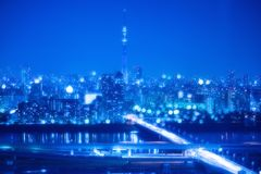 Tokyo City Night Background with Blur Bokeh Lights. Nightlife Background in Tokyo. Tokyo Skyline with Blur Bokeh Lights Decoration in Colorful Filter. Tokyo Sky Royalty Free Stock Image