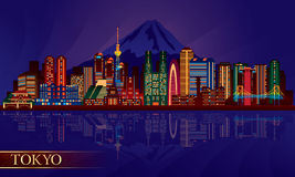 Tokyo city night skyline. Vector silhouette illustration Royalty Free Stock Photo