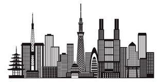 Tokyo City Skyline Black and White Illustration stock illustration