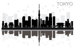 Tokyo City skyline black and white silhouette with Reflections. Royalty Free Stock Photos