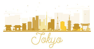 Tokyo City skyline golden silhouette. Royalty Free Stock Images