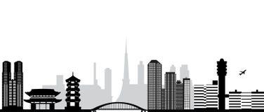 Tokyo city skyline. Tokyo japan city skyline with airport