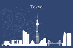 Tokyo city skyline silhouette on blue background Royalty Free Stock Images
