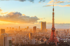 Tokyo city skyline at sunset in Tokyo. Stock Images