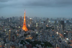 Tokyo city skyline at sunset in Tokyo, Japan. Royalty Free Stock Photography