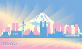 Tokyo city skyline. Vector silhouette illustration Royalty Free Stock Images