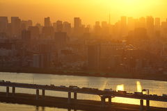 Tokyo city and sunset Stock Image