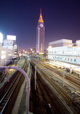 Tokyo City train station rails Royalty Free Stock Image