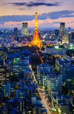Tokyo city at twilight, Japan Royalty Free Stock Photos
