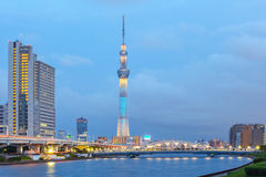 Tokyo city view and Sumida river. With Tokyo landmark Tokyo Skytree Stock Images