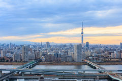 Tokyo city view with Tokyo sky tree and river Royalty Free Stock Photo
