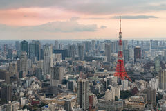 Tokyo city view with Tokyo Tower at night in Japan Royalty Free Stock Photography