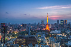 Tokyo city view and Tokyo Tower Stock Photos