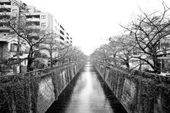 Tokyo city water channel Royalty Free Stock Image