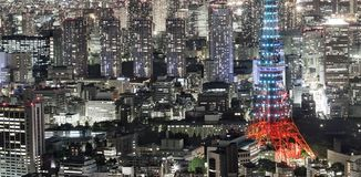 Crowded Tokyo city at night royalty free stock images