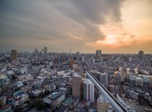 Tokyo Cityscape with Local Architecture and Skyscraper in Background. Highway in Background. Tokyo Cityscape with Local Architecture Stock Images