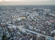 Tokyo Cityscape with Local Architecture and Skyscraper in Background. Highway in Background. Tokyo Cityscape with Local Architecture Stock Photos