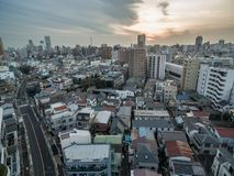 Tokyo Cityscape with Local Architecture and Skyscraper in Background. Tokyo Cityscape with Local Architecture Stock Photos