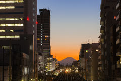 Tokyo cityscape and Mountain fuji stock photos