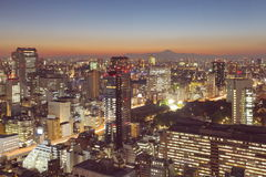 Tokyo cityscape and Mountain fuji at twilight Stock Photography