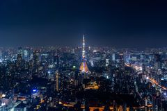 Tokyo cityscape at night, Japan Stock Image