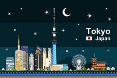 Tokyo cityscape på natten Arkivfoton