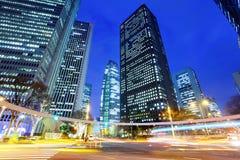 Tokyo cityscape på natten Arkivbilder