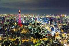 Tokyo cityscape scene night time from sky view of the Roppongi H. TOKYO, JAPAN - OCTOBER 26: Tokyo cityscape scene night time from sky view of the Roppongi Hills stock image