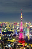 Tokyo cityscape scene night time from sky view of the Roppongi H Royalty Free Stock Photos