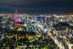 Tokyo cityscape scene night time from sky view of the Roppongi H Stock Photos