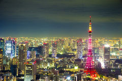 Tokyo cityscape scene night time from sky view of the Roppongi H Royalty Free Stock Photography