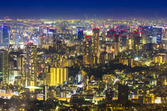 Tokyo cityscape scene night time from sky view of the Roppongi H Royalty Free Stock Photo