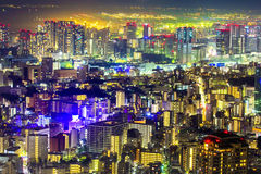 Tokyo cityscape scene night time from sky view of the Roppongi H Stock Images
