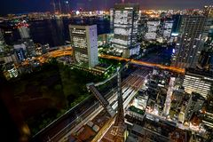 Tokyo Cityview Night Dark Skyline Megacity with Skytree Tower. Photo taken in Japan Asia, Tokyo, August 2017 Royalty Free Stock Images