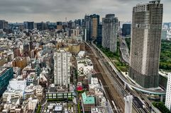 Tokyo Cityview Skyline Megacity with Skytree Tower. During Day. Photo taken in Japan Asia, Tokyo, August 2017 Royalty Free Stock Photos