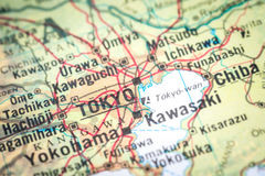Tokyo. Closeup of the map geography of Tokyo in Japan royalty free stock image