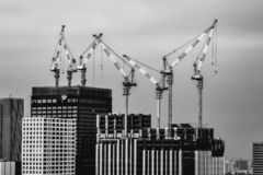 Tokyo Cranes in Black and White royalty free stock image