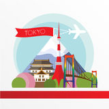 Tokyo, detailed silhouette. Trendy vector illustration, flat style. Stylish colorful  landmarks. The concept for a web banner. Royalty Free Stock Image