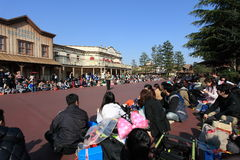 Tokyo Disneyland,Japan. Visitors waiting for Easter Dream joyous parade of all kinds of fairy tales and cartoon characters in Tokyo Disneyland in Japan royalty free stock images