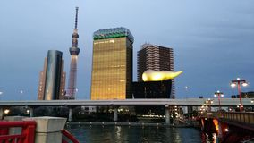 Tokyo efter solnedgång royaltyfri fotografi