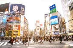 Shibuya crossroads intersection in Tokyo Japan royalty free stock images