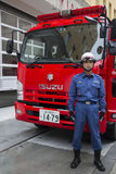Tokyo Fire Department. Unidentified firefighter from Tokyo Fire department. Tokyo Fire Department is the largest urban fire department in the world royalty free stock image