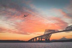 Tokyo gate bridge and Mt.Fuji Stock Photo