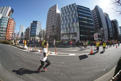 Tokyo, Giappone 26 febbraio 2017: Corsa maratona a Tokyo Fotografia Stock