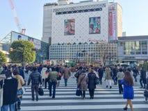 Tokyo, Giappone - 28 gennaio 2016: Incrocio dei pedoni al Cr di Shibuya fotografia stock libera da diritti