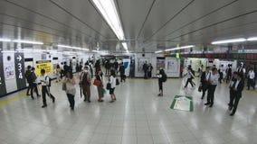 Tokyo, Giappone - 20 giugno 2018: Al rallentatore del popolo giapponese, folla, pendolari in fretta che camminano e che corrono a video d archivio