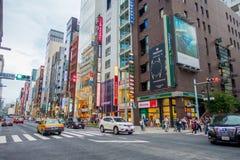 TOKYO, GIAPPONE 28 GIUGNO - 2017: Bella vista del distretto di Ginza a Tokyo, Giappone Il distretto è una zona commerciale import Immagini Stock