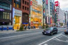 TOKYO, GIAPPONE 28 GIUGNO - 2017: Bella vista del distretto di Ginza a Tokyo, Giappone Il distretto è una zona commerciale import Fotografia Stock