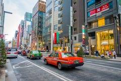 TOKYO, GIAPPONE 28 GIUGNO - 2017: Bella vista del distretto di Ginza a Tokyo, Giappone Il distretto è una zona commerciale import Fotografia Stock Libera da Diritti